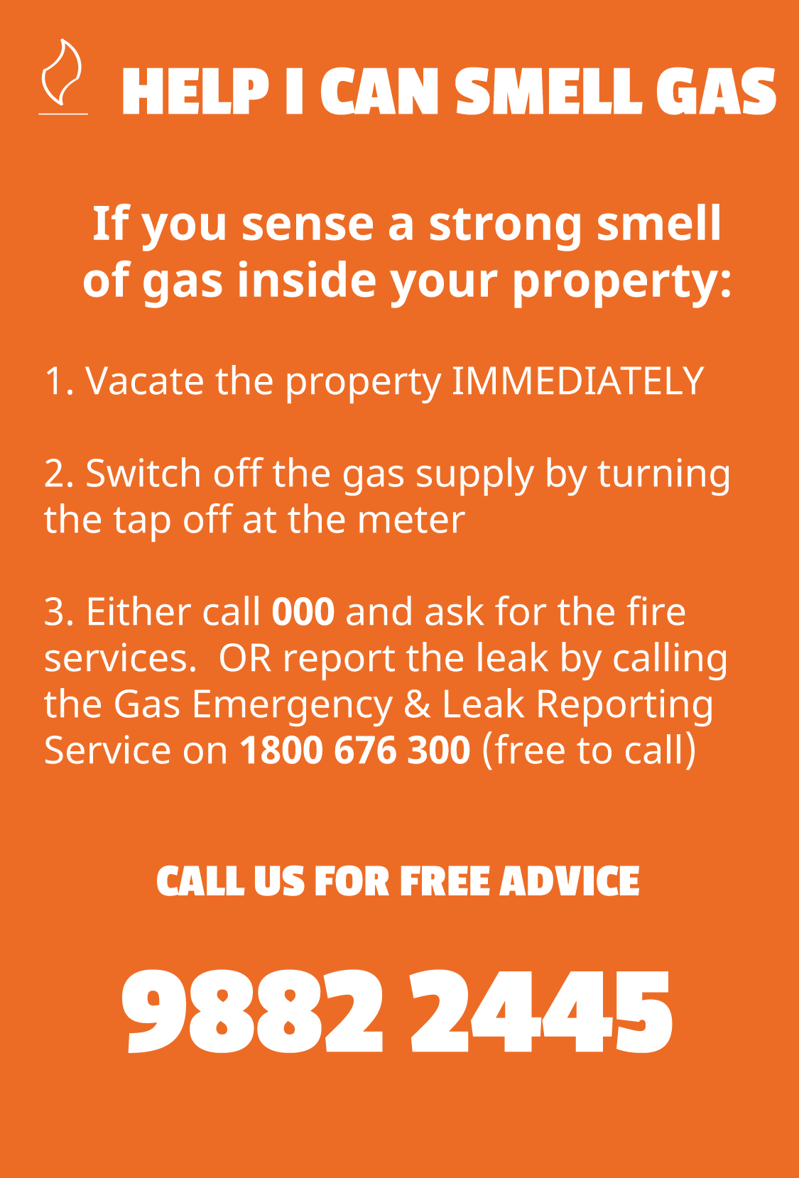 Customer information if you suspect a gas leak within your Sydney property