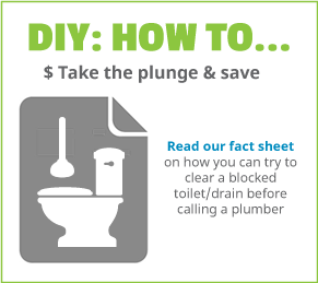 Customer information on how to clear a blocked toilet with a plunger