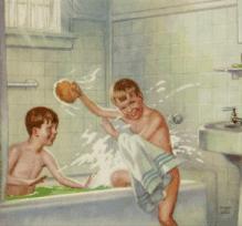 vintage_children_boys_brothers_splashing_in_tub_poster_no-border